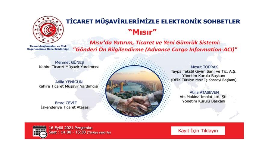 Ticaret Müşavirlerimizle Elektronik Sohbetler - Mısır - 2021